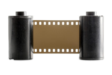 Old 35mm camera film roll isolated on white background