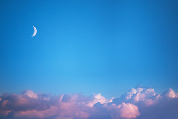Beautiful sunset , deep blue sky and moon