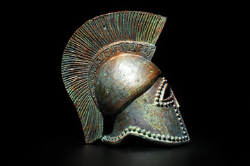 Ancient Greek Helmet on Black