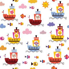 cute animals in boats kids sea pattern