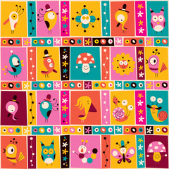 flowers birds mushrooms & snails characters nature pattern