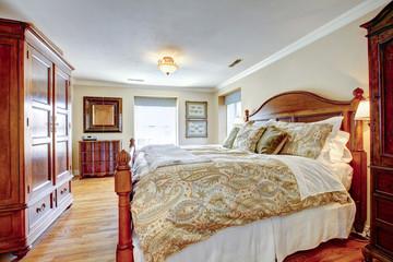 Large rustic furnished bedroom
