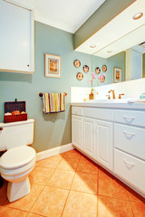 Bright cozy bathroom with white wood cabinets