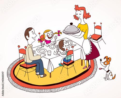 рисунок за обедом