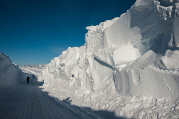 Snow wall at Kulusuk airport, Greenland