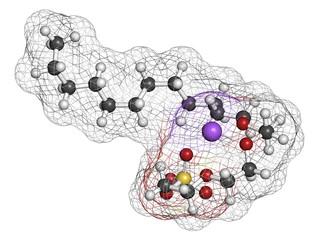 Sodium laureth sulphate detergent molecule. Used in cosmetics.