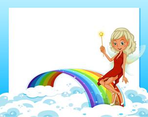 An empty template with a rainbow and a fairy