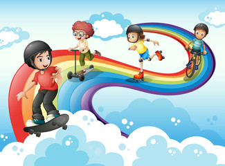 Kids in the sky playing with the rainbow