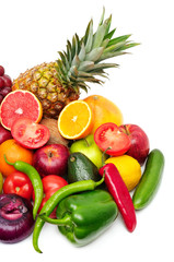 fresh fruits and vegetables on white