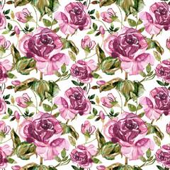 Purple rose seamless pattern