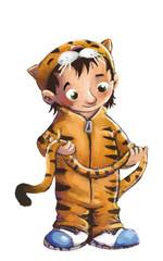 niño con disfraz de tigre