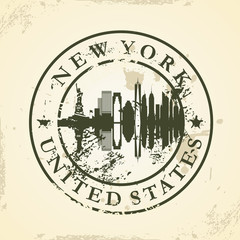 Grunge rubber stamp with New York, USA