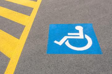 Handicap road sign Parking spots