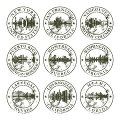 Grunge rubber stamps with New York, San Francisco, Vancouver, Pu
