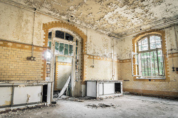 Abandoned Hospital in Beelitz Heilstaetten near Berlin in German