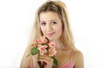sweet blonde girl with flowers posy/studio