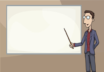 teacher pointing at a blank board