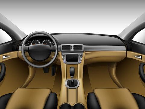 Light beige leather car interior