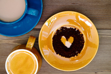 Coffee heart on a colorful plate