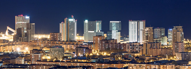 Aerial view of financial district in Barcelona at night