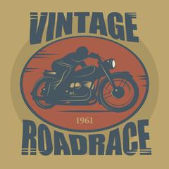 Vintage Motorcycle sport label, vector illustration