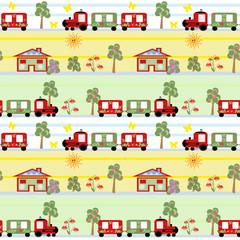 Train seamless kids pattern background