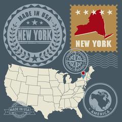 Abstract post stamps set New York, USA, vector illustration