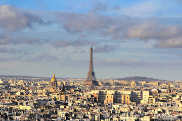 Panoramic view of Paris with silhouette of Eiffel tower