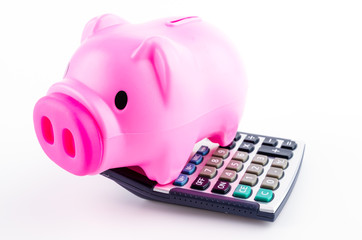 piggy bank calculator isolated white background