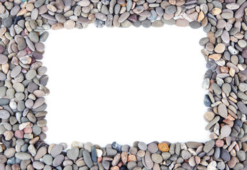 Frame of small sea stones, isolated on white