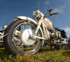 Classic motorcycle closeup view