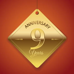 9th Anniversary poster / template/ tag design Vector Background