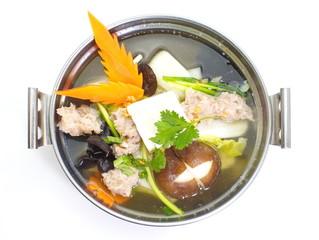 mild soup with vegetable ,pork ,mushroom and bean curd