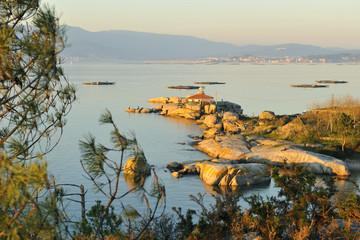 Sunset in the beach, Arosa Island, Pontevedra, Galicia, Spain