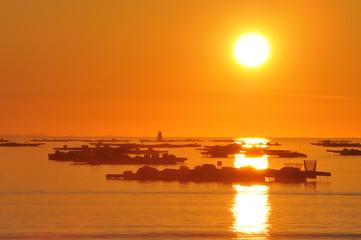 Orange sunset in the beach, Arosa Island, Pontevedra, Galicia, S