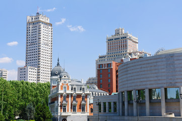 Cityscape of Madrid in Spain