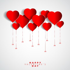 Happy Valentines Day Heart Balloons on white Background