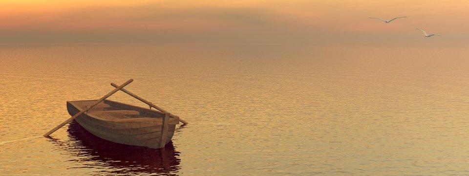 Wood boat - 3D render