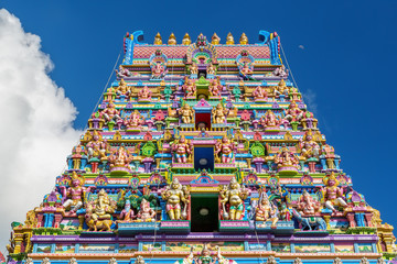 Facade of a Hindu temple in Victoria, Seychelles Wall mural