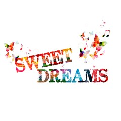 "Colorful vector ""sweet dreams"" background with butterflies"