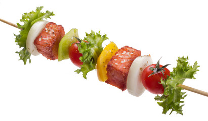 Fototapete - salmon with vegetables on a skewer