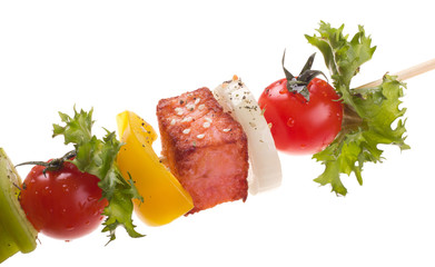 Wall Mural - salmon with vegetables on a skewer