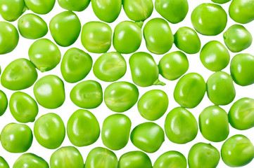 Green peas isolated on white. Background from peas