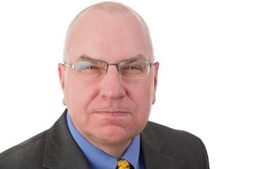 Revengeful middle-aged bald businessman