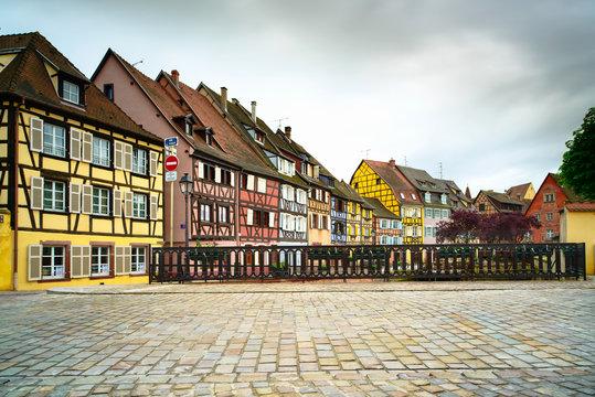 Colmar, Petit Venice, bridge and traditional houses. Alsace, Fra