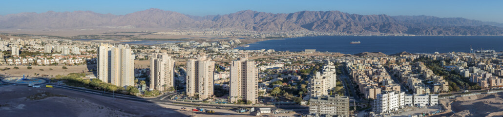 Aerial view on the maina and beach of Eilat, Israel