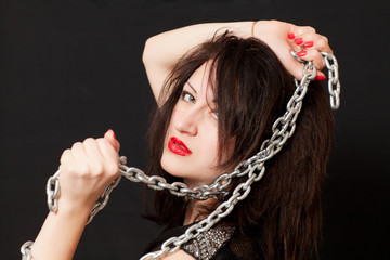 woman and a steel chain