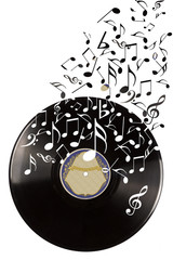Black vinyl record and music notes.