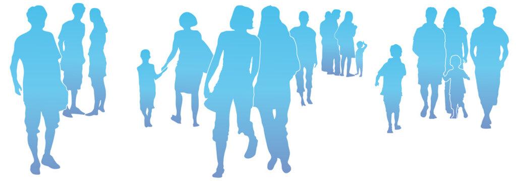Menschen in der Stadt, Menschengruppe, verschiedere Menschen bewegen sich, Leben in Gemeinschaft, gestalten die Zukunft, Silhouette, vektor, isoliert