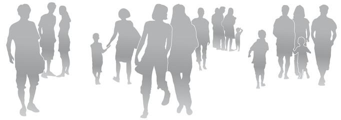 Set Menschen, Menschengruppe, Silhouette, grau, Menschen in der Stadt